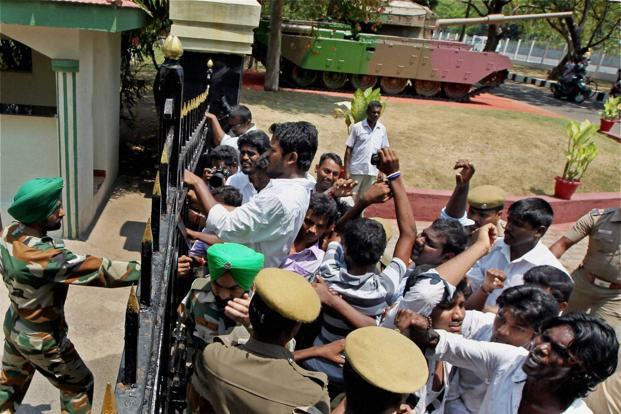 Members of the Students Federation for Freedom of Tamil Eelam in Chennai try to lay siege at the Regional Army headquarters during a protest against Sri Lanka for alleged human rights violations. Photo: R. Senthil Kumar/PTI