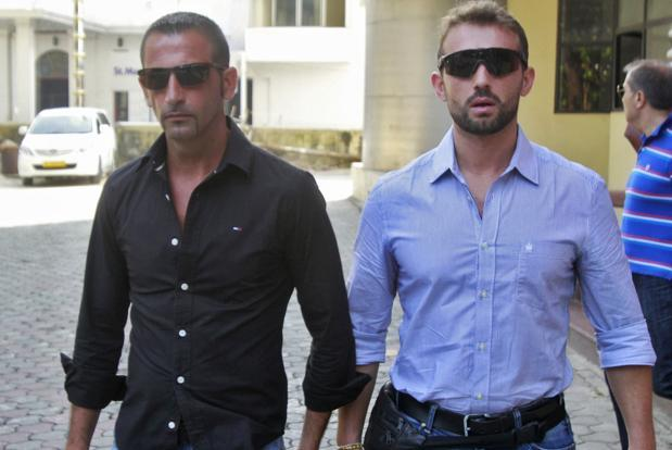 A file photo of Italian sailors Salvatore Girone (right) and Massimiliano Latorre. The return of the Italian marines  has been hailed by several ministers in the Indian cabinet as a victory for Indian diplomacy.   Photo: Reuters