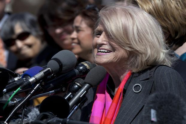 Edith Windsor of New York, a plaintiff of the US vs Windsor case challenging the constitutionality of Section 3 of the Defense of Marriage Act, speaks to reporters in Washington outside the US Supreme Court. AP