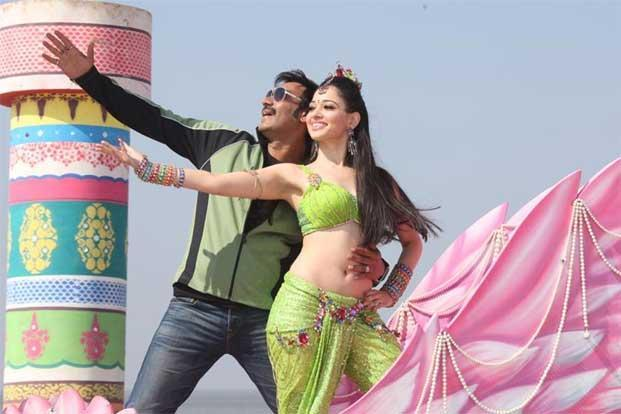 Ajay Devgn (left) and Tamannaah in a scene from 'Himmatwala'.