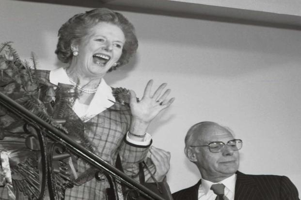 Thatcher gives a jubilant wave in this 12 June 1987 photo after sweeping back to power for a third consecutive term in office after the general election. She became Britain's longest continuously serving prime minister of 20th century in 1988. Photo:Reuters