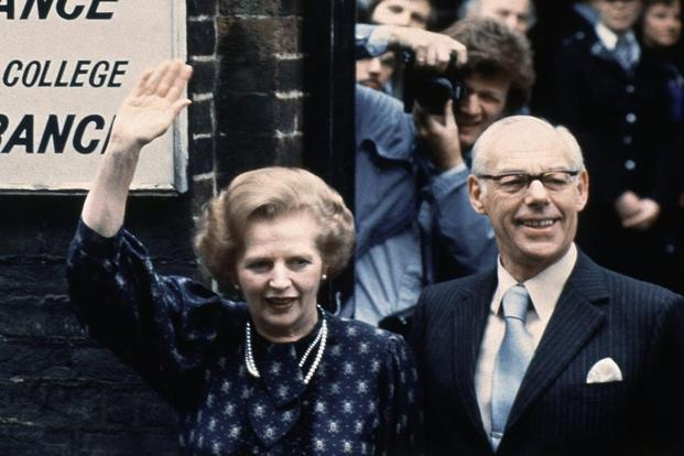 This 9 June 1983 shows Thatcher leaving the Castle lane, Westminster, London, polling station with her husband Denis after casting her vote in the general election. She married Denis Thatcher, a wealthy oil executive on 13 December 1951. Photo:AP