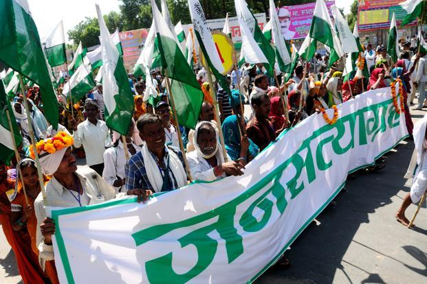 A file photo of Ekta Parishad's Jan Satyagraha march in Madhya Pradesh demanding land reforms. Ekta Parishad is a Madhya Pradesh-based organization that works in the field of community-based governance and local self-reliance. Photo: Pradeep Gaur/Mint (Pradeep Gaur/Mint)