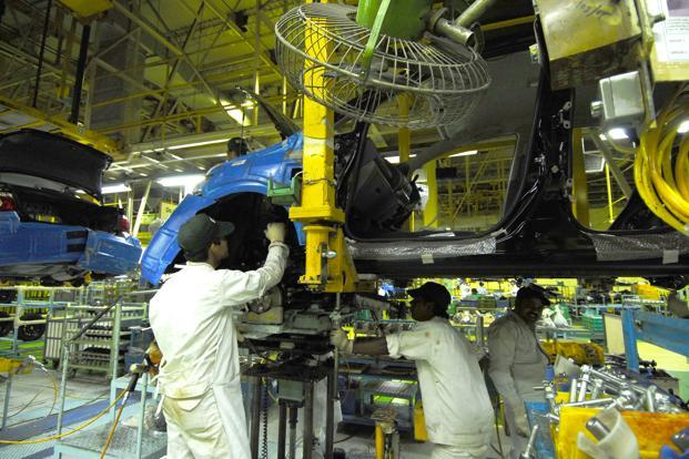 In April-February, growth in the index of industrial production slowed to 0.9% from 3.5% a year ago.   Photo: Ramesh Pathania/Mint