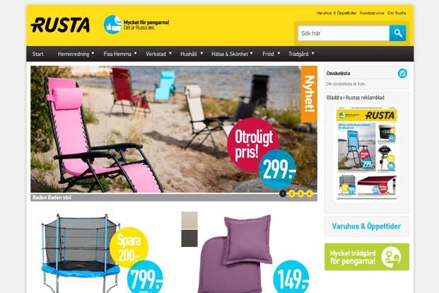 Rusta sells products such as carpets, home furnishings, paints, utensils and electronic goods through it's branded stores. Its retail operations are presently restricted to Sweden, where it runs 67 stores. (Rusta sells products such as carpets, home furnishings, paints, utensils and electronic goods through it's branded stores. Its retail operations are presently restricted to Sweden, where it runs 67 stores.)