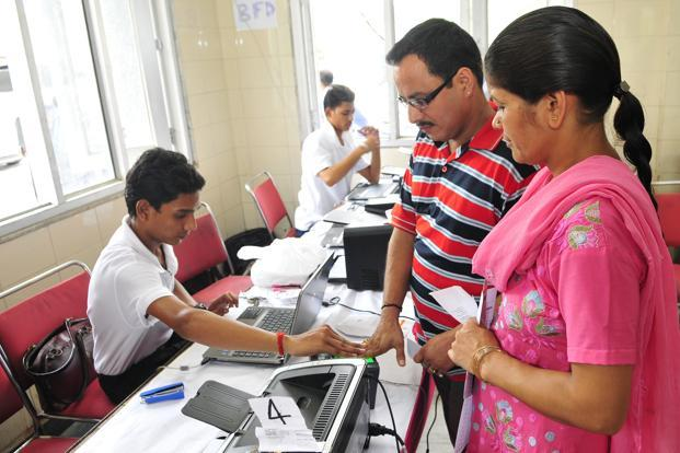 Since the Aadhaar programme began in 2010, more than 300 million Indians have acquired a unique ID number associated with 12 biometric markers—10 fingerprints and two iris scans. Photo: Ramesh Pathania/Mint  (Ramesh Pathania/Mint )