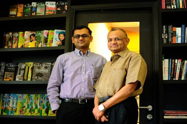 Paresh Nath (right), the publisher and editor-in-chief of Delhi Press Group, with his son Anant Nath, editor of The Caravan. Photo: Pradeep Gaur/Mint