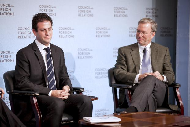 Eric Schmidt (right) and Jared Cohen. Photo: JB Reed/Bloomberg