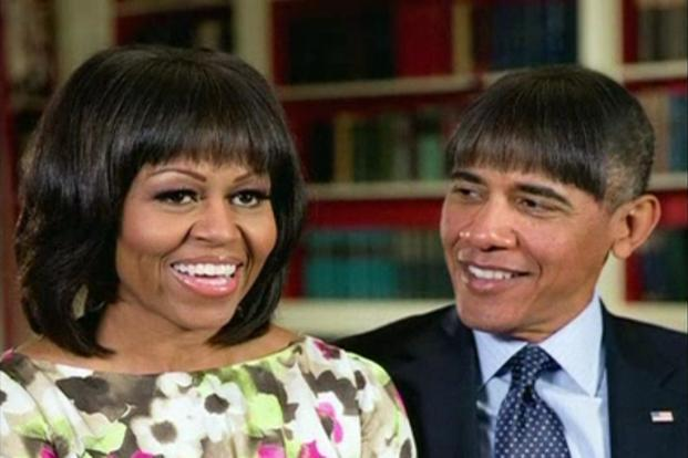 "Obama joked that he plans a second-term evolution from being ""a young Muslim socialist"" to a retired golfer, all in his new hairstyle, which he says looked, ""pretty good, but no bounce"". Reuters"