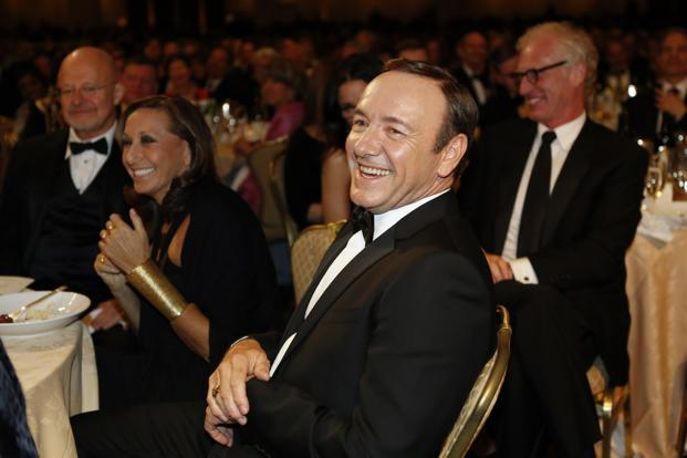 Actor Kevin Spacey laughs during the dinner. Other guests included Julia Louis-Dreyfus, Claire Danes, Korean entertainer Psy, Cabinet members, governors and members of Congress. Reuters
