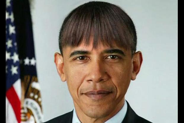 US President Barack Obama made light of his wife's new bangs with mock pictures of himself with the same hairdo at the annual White House Correspondents' Association dinner in Washington on 27 April. Reuters