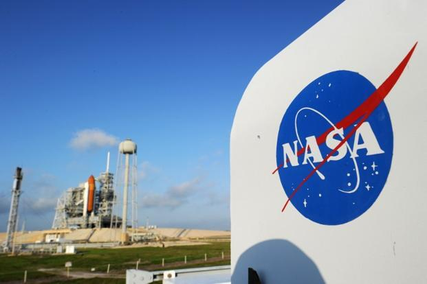 The NASA logo at Kennedy Space Center in Florida. On the same day, NASA also released pictures of the Andromeda galaxy, Magellanic Cloud galaxy and the Orion nebula highlighting fledgling stars hidden in gas and clouds. AFP