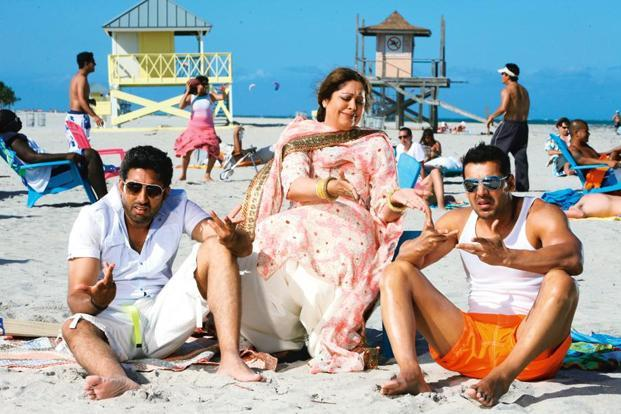 Kirron Kher (centre) is mother to Abhishek Bachchan (left) in Dostana (2008)