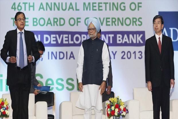 Prime Minister Manmohan Singh with finance minister P Chidambaram and President of Asian Development Bank (ADB), Takehiko Nakao at the opening session of the 46th annual meeting of the board of governors of ADB in Greater Noida on Saturday. Photo: PTI