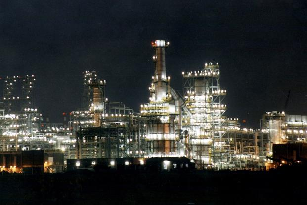 A file photo of RIL's petrochemical plant at Jamnagar in Gujarat. Polymers contribute 44% to RIL's petrochemicals revenue, according to report by Goldman Sachs. Photo: Reuters