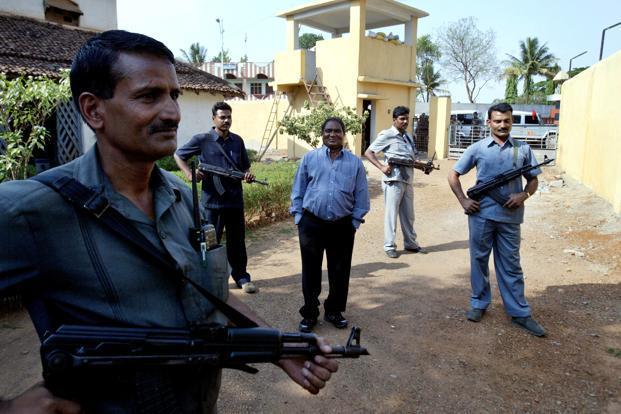 A file photo of Mahendra Karma (centre), former home minister who was a guiding force behind 'Salwa Judum' (anti-Naxal operation by vigilante groups). Photo: PTI (PTI)