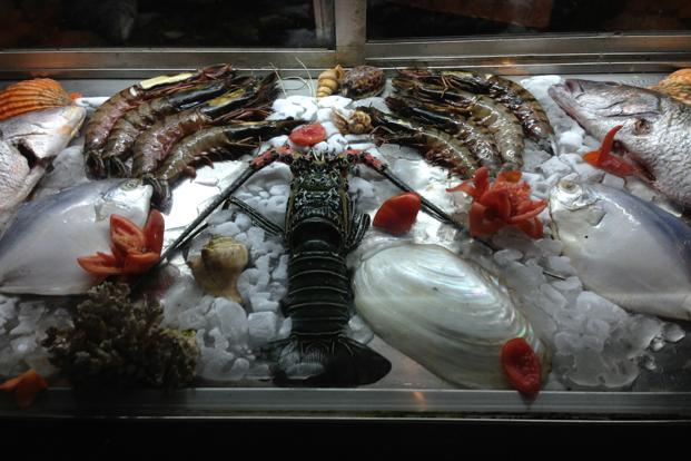 Fresh catch displayed at Martin's Corner.
