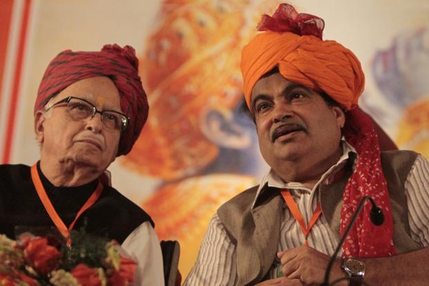 "27 September 2012: BJP President Nitin Gadkari with Advani. Born in Karachi, Sindh. Advani went on to study law at the Government Law College, Bombay University. His autobiography released in 2008 is titled ""My Country My Life. HT"