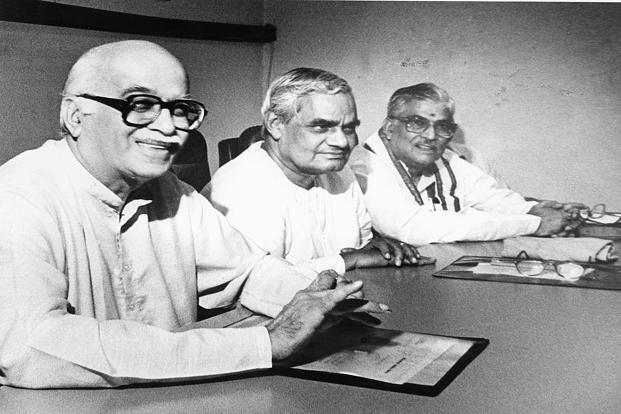 7 July 1993: L To R BJP leaders L. K. Advani, Atal Behari Vajpayee and Murli Manohar Joshi at the party's meet. A close confidant of Vajpayee, Advani rose to be deputy prime minister under him.  HT