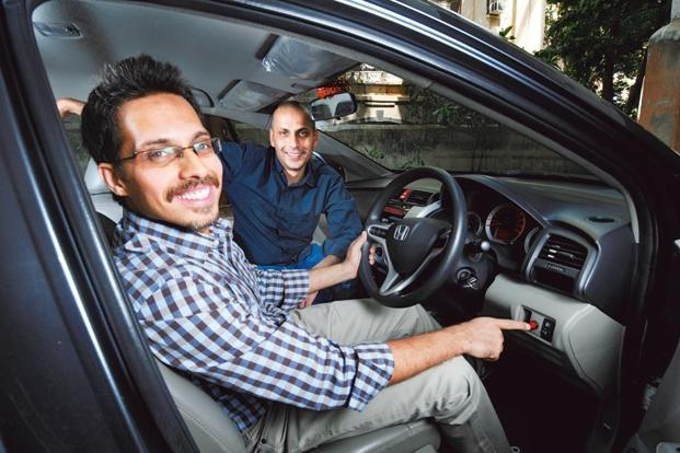 Anand Damani (left) and Mayur Tekchandaney in the latter's car. Photo:  Abhijit Bhatlekar/Mint
