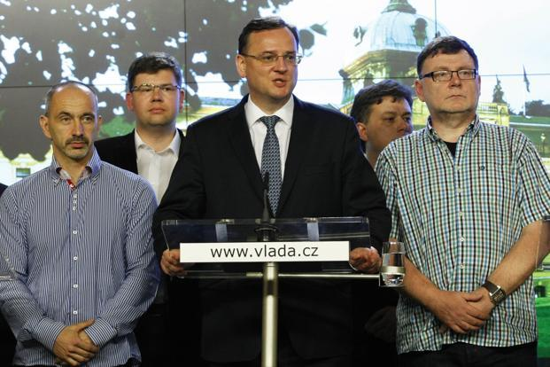 Czech Prime Minister Petr Necas (C) while announcing his resignation on Sunday in Prague. Photo: AFP (AFP)