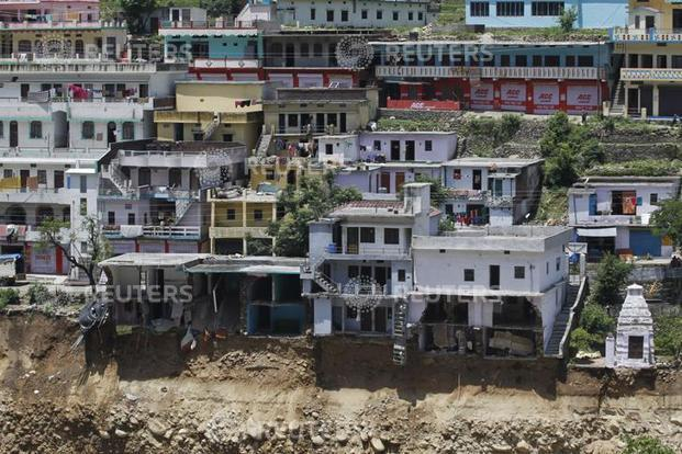 Damaged houses are seen at a village in Rudraprayag, on the the worst affected districts in Uttarakhand. Reuters