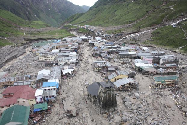 While the Kedarnath shrine was intact, the surrounding part has been severely damaged and submerged, state minister for disaster management and rehabilitation Yashpal Arya said. Photo: Indian Army