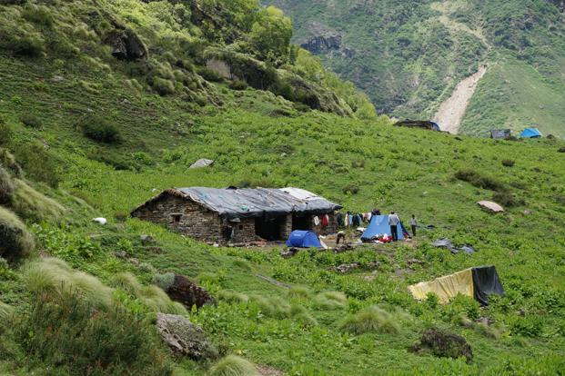 Shepherd's Hut in Sunderdunga Valley where the trekkers took shelter. Photo by Ruchira Singh/Mint