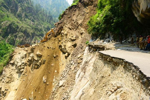 The road between Govindghat and Badrinath was washed away by the rains at many places. Photo: Ramesh Pathania/Mint