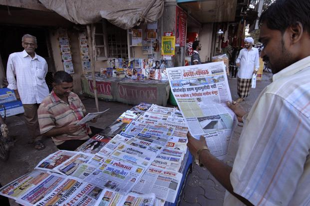 Although print is declining globally, India is unusual in that newspapers are projected to expand 15-18% with the bulk of this growth coming from regional products. Photo: Abhijit Bhatlekar/Mint