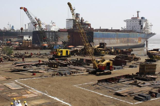 According to an industry expert, as many as 100 ship-breaking companies are active in Alang and the turnover of the industry is about `10,000 crore per year giving employment to over 50,000 workers. Photo: Reuters