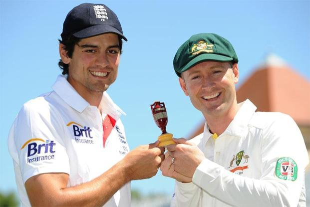 England captain Alistair Cook (left) and Australian captain Michael Clarke will face-off in the forthcoming Ashes. Photo: Andrew Yates/AFP
