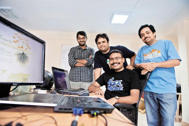 (L to R) DataWeave's Dakshinamurthy Bhamidi (lead engineer) with co-founders Karthik Ramesh and Vikranth Ramanolla, and Sanket Patil (head of product strategy). Photo: Aniruddha Chowdhury/Mint (Aniruddha Chowdhury/Mint)