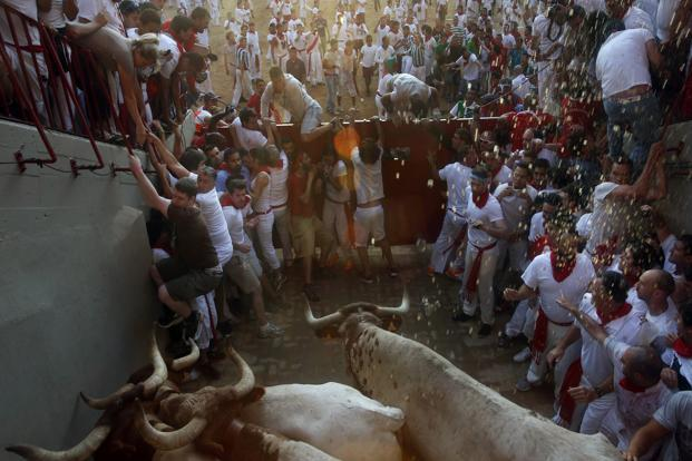 Runners get trapped by steers at the entrance to the bull ring during the third running of the bulls. The running of the bulls was most famouly described by Ernest Hemingway in his 1926 novel <i>The Sun Also Rises.</i> Reuters