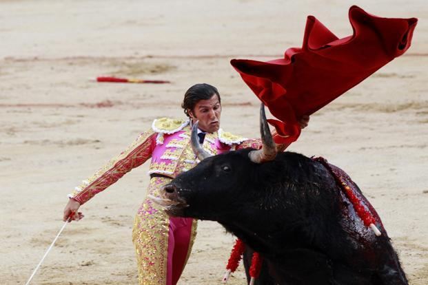 Spanish bullfighter David Mora performs a pass with a bull during the third bullfight of the San Fermin festival. Reuters
