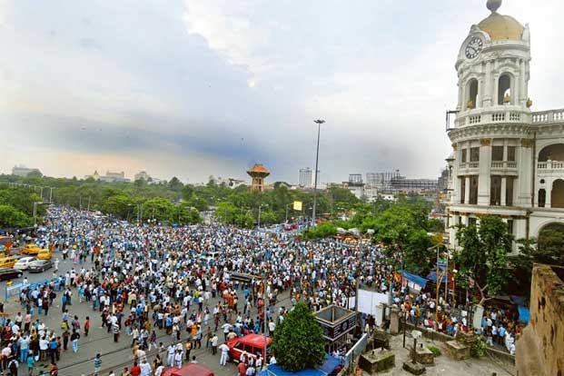 A rally in Esplanade. Photo: Indranil Bhoumik/Mint