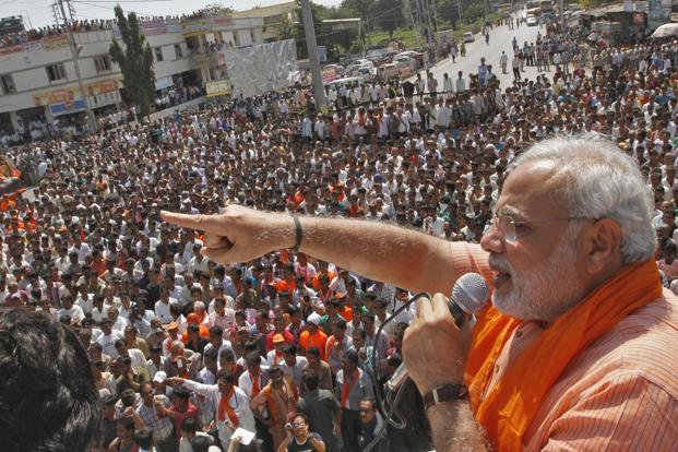 A file photo of Gujarat's chief minister Narendra Modi addressing his supporters during a rally. Photo: Amit Dave/Reuters