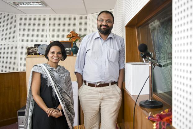 Sharad Jaiswal of Bell Labs (right) and Pinky Chandran, head of RadioActive, Bangalore's first community radio station. Photo: Aniruddha Chowdhury/Mint