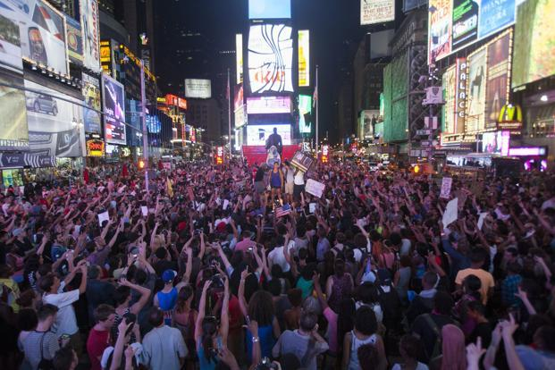 Protesters rally in Times Square in New York. On 13 July 2013, the jury found Zimmerman not guilty of second-degree murder and  manslaughter. The six women in the jury delivered their verdict after more than 16 hours of deliberations. Reuters