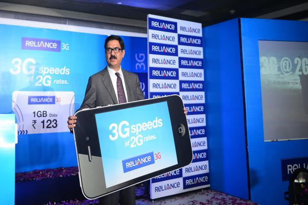 Gurdeep Singh, president and CEO, wireless, Reliance Communications addresses mediapersons at the launch of RCom's new tariffs at Reliance's corporate office in New Delhi on Thursday. Photo: Ramesh Pathania/Mint