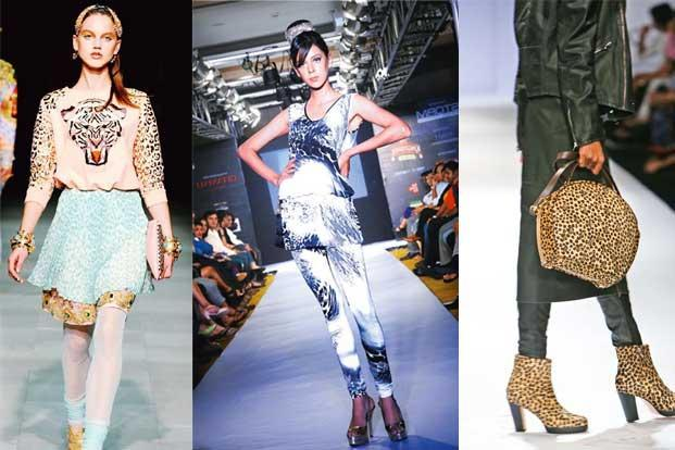 Wild things: (from left) An ensemble by Manish Arora; full animal-print ensemble from Pria Kataria Puri's Fall/Winter collection and bag and shoes by Sanchita Ajjampur for Fall/Winter 2013
