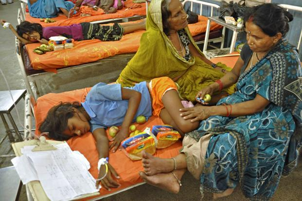 Doctors treating some two dozen children at the main hospital in Patna, the capital of Bihar, have said they suspect the children were poisoned by organophosphorous, a compound used in pesticide. Photo: AFP (AFP)