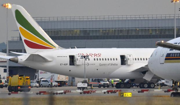 A Boeing 787 Dreamliner operated by Ethiopian Airlines caught fire at Britain's Heathrow airport in west London on 12 July. Photo: Reuters