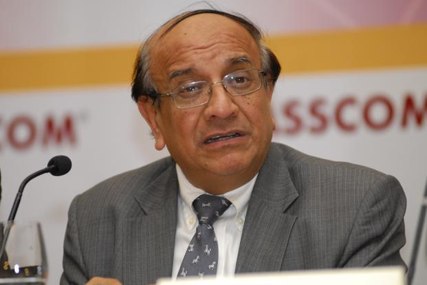 A file photo of Nasscom president Som Mittal. For next year's job offers, campus hiring will be split between September and March and another phase between May and July. Photo: Mint