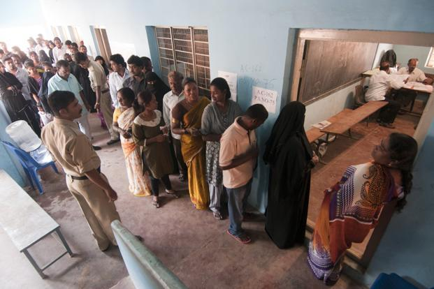 People line up to cast their vote in Bangalore for Karnataka assembly elections. Photo: Aniruddha Chowdhury/Mint