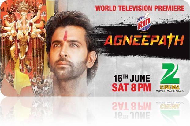 For its TV premiere, the publicity material for Agneepath was changed to Hritik Roshan against the backdrop of the Ganpati festival from the actor against a backdrop of flames that was used for the movie's theatrical release. (For its TV premiere, the publicity material for Agneepath was changed to Hritik Roshan against the backdrop of the Ganpati festival from the actor against a backdrop of flames that was used for the movie's theatrical release.)
