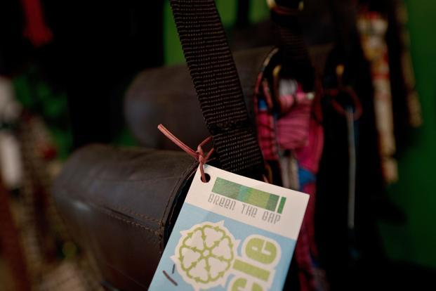 Green the Gap, an Indian company, mainly sells accessories and home decor items made out of waste including beer cans, rubber tyres and fruit cartons. Photo: AFP (AFP)