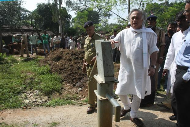 A file photo of rural development minister Jairam Ramesh touring a Jharkhand village. Photo: Hindustan Times (Hindustan Times)