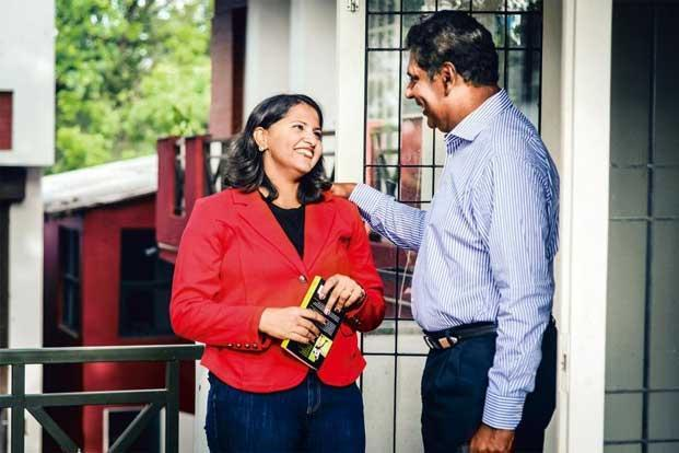 Nirupama Vaidyanathan with Vijay Amritraj at the launch of her book in Chennai. Photo: Nathan G/Mint