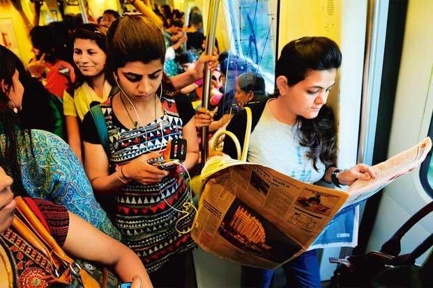 The Ladie's coach in Delhi Metro. Image Courtesy: LiveMint